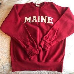 """Red Oversized """"Maine"""" Sweatshirt"""